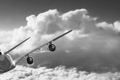 Plane in the sky flight travel transport airplane background black white Stock Photography
