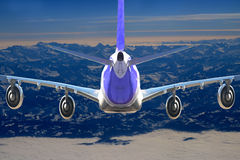 Plane in the sky flight travel transport airplane background black white Royalty Free Stock Photo