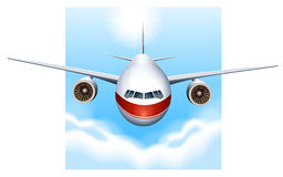 A plane in the sky. Illustration of a plane in the sky on a white background Stock Image