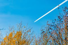 Plane in the sky leaving a trail royalty free stock image