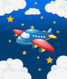 A plane in the sky with many stars Stock Photos