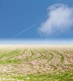 Plane in the sky steppe. In the park in nature Royalty Free Stock Photo