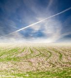 Plane in the sky steppe. Photo of an abstract texture Stock Photo