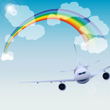 plane skyen Royaltyfria Bilder