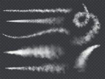 Free Plane Smoke Trail. Jet Trails White Airplane Smoke Takeoff Cloud Vapour Sky Contrail Rocket Condensation Trailing Set Royalty Free Stock Image - 138961296
