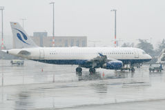 Plane in a snow storm Royalty Free Stock Photography
