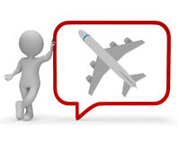 Plane Speech Bubble Shows Explain Transportation And Traveller 3d Rendering Royalty Free Stock Photography