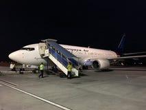 Plane of Sriwijaya Air at night Royalty Free Stock Image