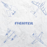 Plane stamp on paper. The fight plane innovation hand drawing by blue ink on old paper. In vector format Royalty Free Stock Image