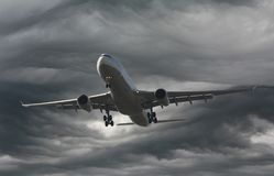 Plane in a storm. An Airbus in a storm over Munich Stock Photo