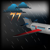 Plane in a stormy weather Royalty Free Stock Image