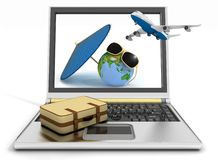 Plane with suitcase, globe and umbrella on laptop  Royalty Free Stock Images