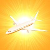 Plane on sun background Stock Photo