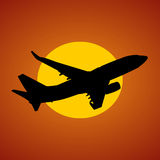 Plane and sun illustration Stock Image