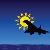 Plane and sun and sea illustration Royalty Free Stock Photos