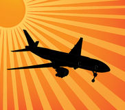 Plane sunset  Stock Photo