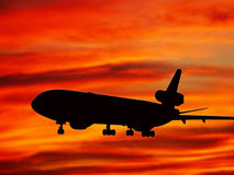 Plane sunset Stock Photo