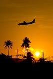 Plane at sunset. Silhouette landing plane at sunset stock images
