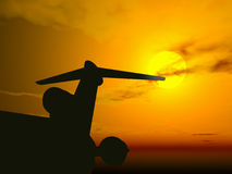 Plane @ sunset. 3D render royalty free illustration