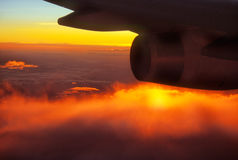 Plane and sunset Royalty Free Stock Images