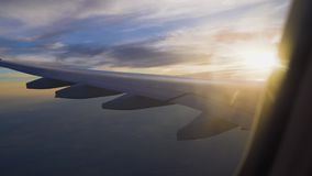 The plane in the sunset. air travel and transportation. passenger airliner.  stock video