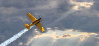 Plane during sunset Stock Images