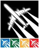 Plane symbol. Stylized vector illustration of a plane in the sky with inversion traces from jet engines Royalty Free Stock Images