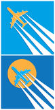 Plane symbols. Stylized vector illustration on the theme of aviation. two versions of the plane with vapor trail in the sky Royalty Free Stock Photos