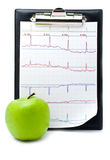 Plane-table with a cardiogram and apple Stock Photo