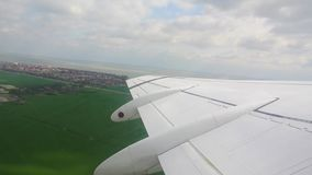 Plane take off. Beautiful view from plane window stock video