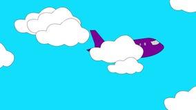 plane takeoff cartoon graphic stock video