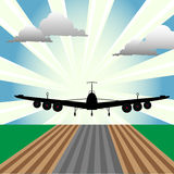 Plane at takeoff. Abstract colorful illustration with plane at takeoff seen from the front size of the plane. Takeoff concept Royalty Free Stock Photos
