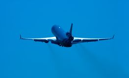 Plane on takeoff. Aircraft on takeoff stock photography