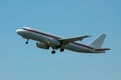 Plane on takeoff. Aircraft on takeoff royalty free stock image