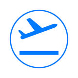 Plane takeoff circular line icon. Round colorful sign. Flat style vector symbol. Plane takeoff circular line icon. Round colorful sign. Flat style vector symbol Stock Images