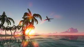 Plane takeoff 3d realistic footage