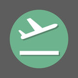 Plane takeoff flat icon. Round colorful button, circular vector sign with shadow effect. Flat style design. Plane takeoff flat icon. Round colorful button Royalty Free Stock Photography