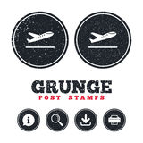 Plane takeoff icon. Airplane transport symbol. Grunge post stamps. Plane takeoff icon. Airplane transport symbol. Information, download and printer signs. Aged Royalty Free Stock Image