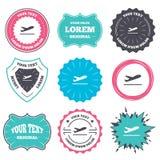 Plane takeoff icon. Airplane transport symbol. Label and badge templates. Plane takeoff icon. Airplane transport symbol. Retro style banners, emblems. Vector Royalty Free Stock Photos