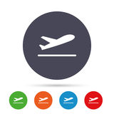 Plane takeoff icon. Airplane transport symbol. Round colourful buttons with flat icons. Vector Royalty Free Stock Photos