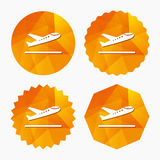 Plane takeoff icon. Airplane transport symbol. Triangular low poly buttons with flat icon. Vector Stock Image