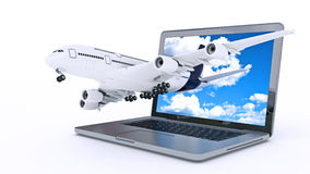The plane takes off from the laptop monitor Royalty Free Stock Photo
