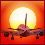 Plane takes off at sunset Royalty Free Stock Images