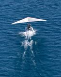 Plane takes off from the surface of the water Royalty Free Stock Image