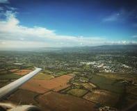 Plane leaving Dublin. Plane taking off on Dublin wing Stock Image