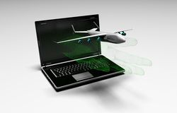 Plane taking off from the laptop with binary hand Royalty Free Stock Photo
