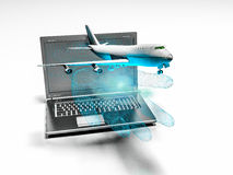 Plane taking off from the laptop hand, 3d render. Flying model aircraft from the laptop with binary hand Royalty Free Stock Photography