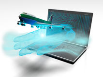 Plane taking off from the laptop hand, 3d render Royalty Free Stock Photos