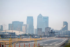 Plane taking off London City Airport. Royalty Free Stock Photography
