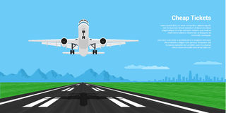 Plane taking off. Picture of a landing or taking off plane with mointains and big city silhouette on background, flat style illustration Stock Photos